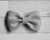 Silver Grey {MILLIE} Bow - You Choose Nylon Headband or Alligator Clip - Felt Bow - Ready to Ship