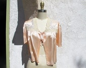 On sale Vintage 40s Bed Jacket, 1940 Silk Lingerie, Peach Silk Sleeping Jacket, Silk and Lace, Bridal Lingerie Top