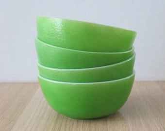 Vintage Set of 4 Lime Bright Green Bowls