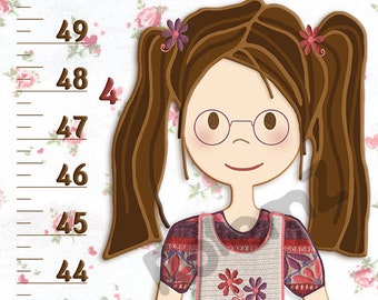 Vinyl or Canvas Growth Chart for Girls White and Pink with Baby Rabbits & Flowers