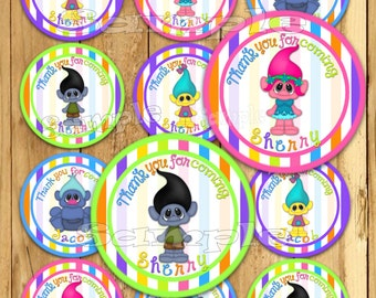 Boy or Girl Thank you tags Troll stickers Troll Party favor tags Custom Gift tags Cupcake toppers Birthday Party tags PRECUT