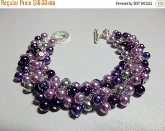 30% OFF SALE thru 2-28 Purple and Gray Pearl Cluster Bracelet, Mom Sister Grandmother Bridesmaid Jewelry Gift, Cluster Slightly Chunky