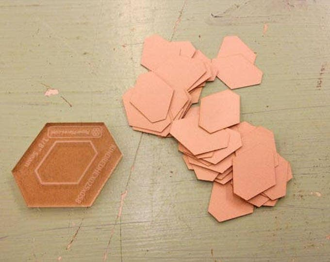 Kindred Hexagon papers and template...1/4 x 5/8 inch kindred hex papers...276 pieces, laser cut