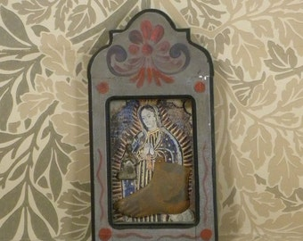 Guadalupe Gray Shrine, Milagros, Tin ornament,Folk Art, Mexico,Vintage