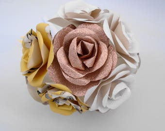 First Wedding Anniversary, Rose Bouquet, 12 Flowers, Paper Flowers, Home Decor, Wedding Flowers, ready to ship, copper, white, saffron