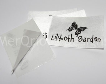 Self-adhesive White Satin Clothing Labels.  3.5 cm, 1 1/3 inch ribbon Personalized labels. Name Tags. Fabric Labels. Custom Labels
