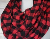 Red & Black Buffalo Plaid Infinity Scarf, Circle Scarf, Fall Scarf, Cowl Scarf, Christmas Gift // Gift for Her
