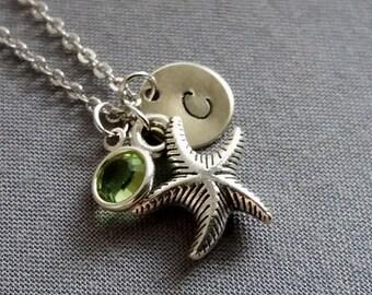 Starfish Necklace.Silver Starfish Pendant. Small Starfish.Starfish Jewelry. Initial Necklace. Swarovski Birthstone.Personalized Gift