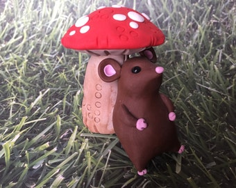 Little Brown Mouse and Toadstool Sculpture - Polymer Clay Sculpture - Cake Topper keepsake - Art by Sarah Price