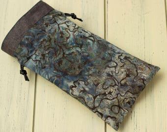 Blue Batik Tarot Bag, Small-Med