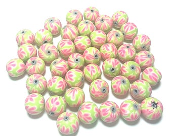 20 Fimo Polymer Clay Round Beads light green flowers 12mm