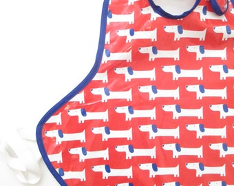 Art Smock in White Dachshunds on Bright Red--Size 6 and Up--CPSIA Compliant--Ready to Ship