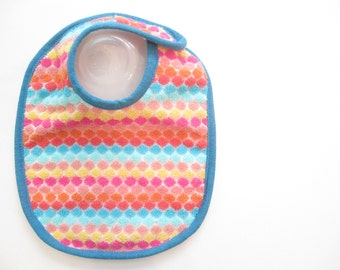 EcoBib--Adjustable Snap Closure--Modern Print in Rainbow Colors--Ready to Ship