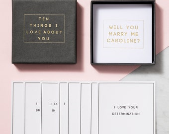 Personalised '10 Things I Love…' Proposal Box