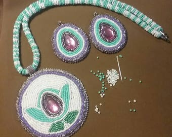 Powwow jewelry in turquoise and white