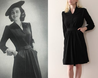 vintage 1940s dress // 40s black silk dress with belt