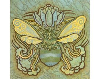 Bee and Lotus Art