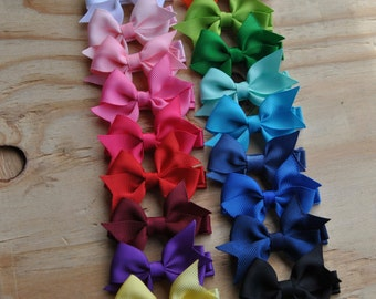 Baby Hair bows, Infant hair bows, Toddler hair bows, Non slip hair bows, One DOLLAR bows, Hair bow set,You choose colors, Mini Hair Bows