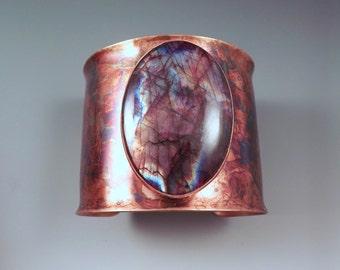 Red Burgundy Labradorite- Spectrolite- Rainbow Swirl Patina- Copper Cuff- Boho Chic- Gorgeous Statement Cuff Bracelet