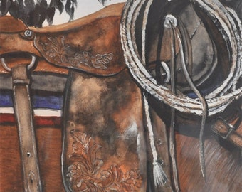Old Saddle, western decor, cowboy decorating, framed reclaimed wood,  Original Watercolor Painting - brown, rust