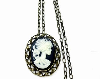 cameo skull victorian/steampunk style necklace stainless steel antique gold chain  - brooch