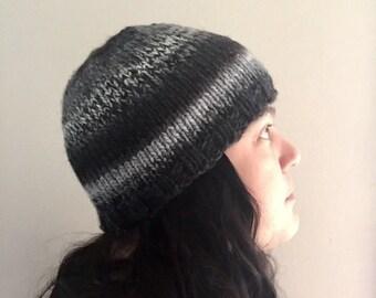 Black Grey Winter Hat Cap Beanie Toque