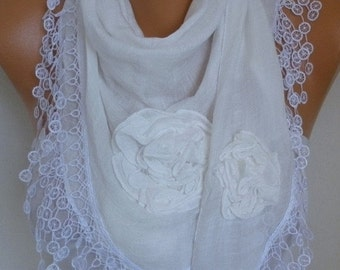 ON SALE --- White Cotton Floral Scarf,Wedding, Fall Scarf,Cowl Lace Shawl Bridesmaid Bridal Accessories Gift Ideas For Her Women Fashion Acc