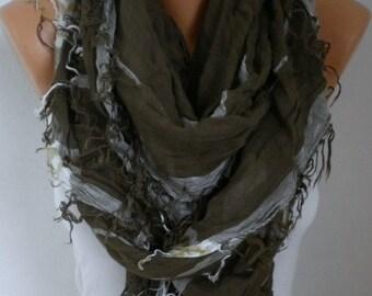 ON SALE --- Sage Green Plaid Scarf Winter Accessories OversizeTartan Scarf Shawl Cowl Scarf Cotton Scarf Gift Ideas For Her Women Fashion Ac