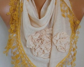ON SALE --- Cream & Yellow Cotton Floral Scarf, Summer,Cowl Lace Shawl Bridesmaid Gift, Bridal Accessories Gift Ideas For Her Women Fashion
