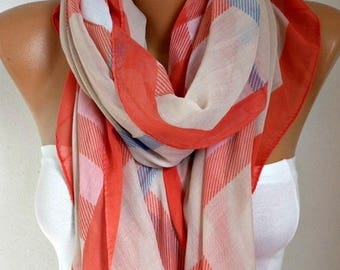ON SALE --- Plaid Scarf, Spring Summer Scarf, Cowl Scarf Oversized Shawl Cotton Scarf Gift Ideas For Her Women Fashion Accessories Christmas
