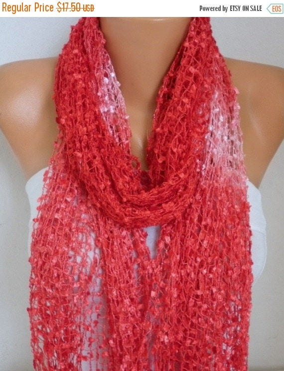 ON SALE --- Red Knitted Scarf, Wedding Shawl,Graduation,Bridal Accessories,Bridesmaid Gift,Cowl Scarf, Gift Ideas For Her, Women Fashion Acc