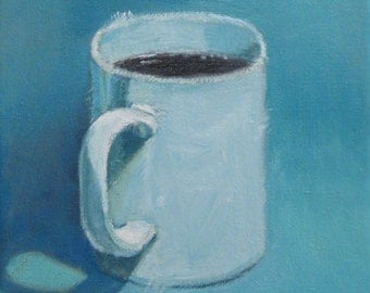 Valentines Gift for Him  Coffee Cup Painting White  Mug Kitchen Still Life Original Oil Painting Painterly Realism Jennifer Boswell