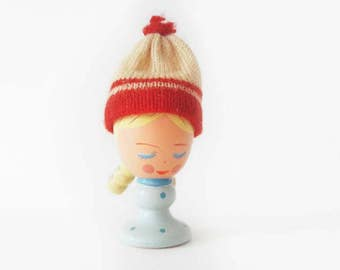 Vintage Wooden Eggcup Girl with Braid and Woolly Hat with Pompom