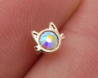 Cat Silhouette Rose Gold Nose Stud Nose Ring