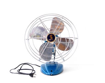 Vintage Oscillating Desk Fan by Coronado in Industrial Metallic Blue (c.1950s) - Retro Cool