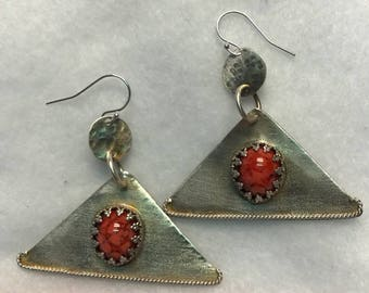 Handcrafted Sterling Silver Earrings with Coral Cabochon