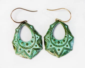 Deeply Embossed Tear Drop Green Patina Hoops / Patina Earrings / Unique Finds / Gift for Her / Simple Jewelry / Patina Jewelry / Fresh Finds
