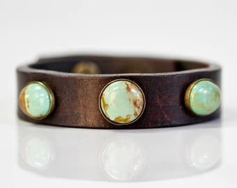 Turquoise Leather Rustic Cuff / Hand-stained Green Genuine Turquoise Leather Bracelet / Gift for Her / Unique Gift / Boho Chic