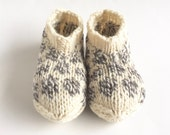 "RESERVED for L.: Bed socks ""Reykjavik"", size L, natural organic wool, knitted, mottled, ivory, gray, grey, polka dots, OOAK, one of a kind"