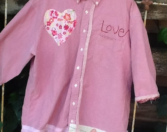 spring pink rose oxford cloth LOVE PLUS XL workwear florist garden vintage linen gypsy prairie chef artist potter ooak  farm rustic shirt