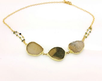 Gold Plated  Druzy Stone Drusy from Uruguay Sparkling Druse Necklace with Tourmaline beads Handmade