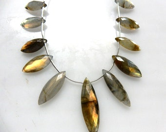 Labradorite Marquise Beads 8 ''  AA Quality  Size 6x13MM To 10x29MM Approx 11 Beads Wholesale Price