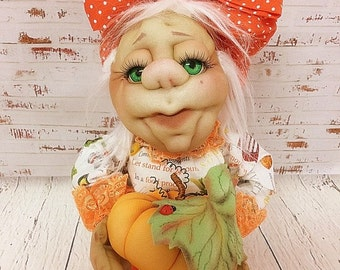 Made-To-Order Soft Sculpture Doll OOAK Art Doll Pumpkin' Granny . Soft Sculpted Doll.