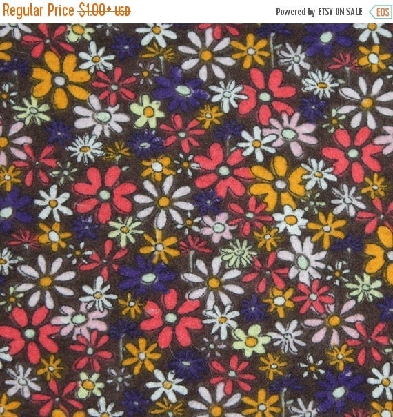 Tossed Flowers on Brown Flannel Fabric for JoAnn Fabrics 100% Cotton Quilt Apparel Sewing Craft Multi Color Tossed Floral Retro Flowers