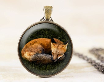 Sleeping Fox Necklace - Red Fox Jewelry Pendant, Sleeping Animal Jewelry, Nature Jewelry, Fox Animal Necklace, Photo Pendant, Fox Gifts