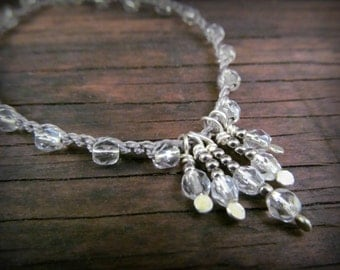 Crystal Drops Necklace, Artisan Silver Hammered Drops, Boho Chic Crochet Jewelry