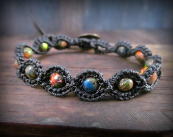 Fiesta Colorful Boho Chic Friendship Bracelet - Black, colorful gemstone bracelet