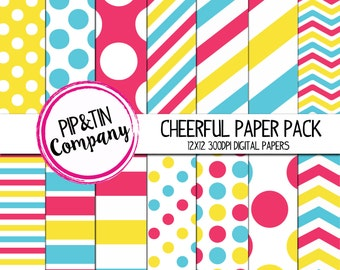 Cheerful Digital Paper Pack, Scrapbook Paper, Yellow, Blue, Pink, Instant Download,  Polka Dots Stripes