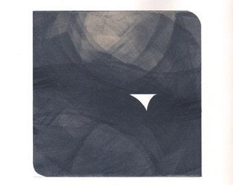 "Etching Print. . Steel Blue Gray Home Decor : ""Pane 50"". Print Size 12"" x 12"" . unframed ."