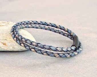 Mens Leather Bracelet, Braided Bracelet, Boyfriend Gift, Men's Leather Jewelry, Blue Bracelet, Jewelry for Him